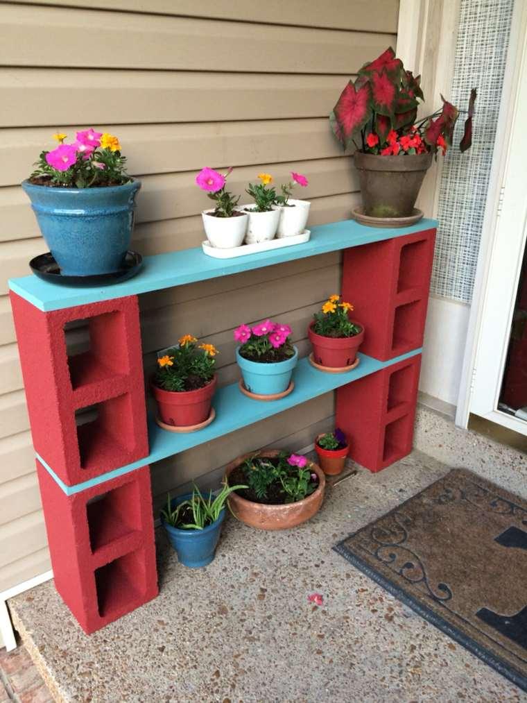 ideas creativas manualidades jardin bloques hormigon macetero colorido original