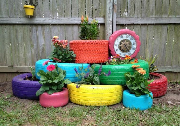 ideas creativas manualidades jardin macetas viejos neumaticos original