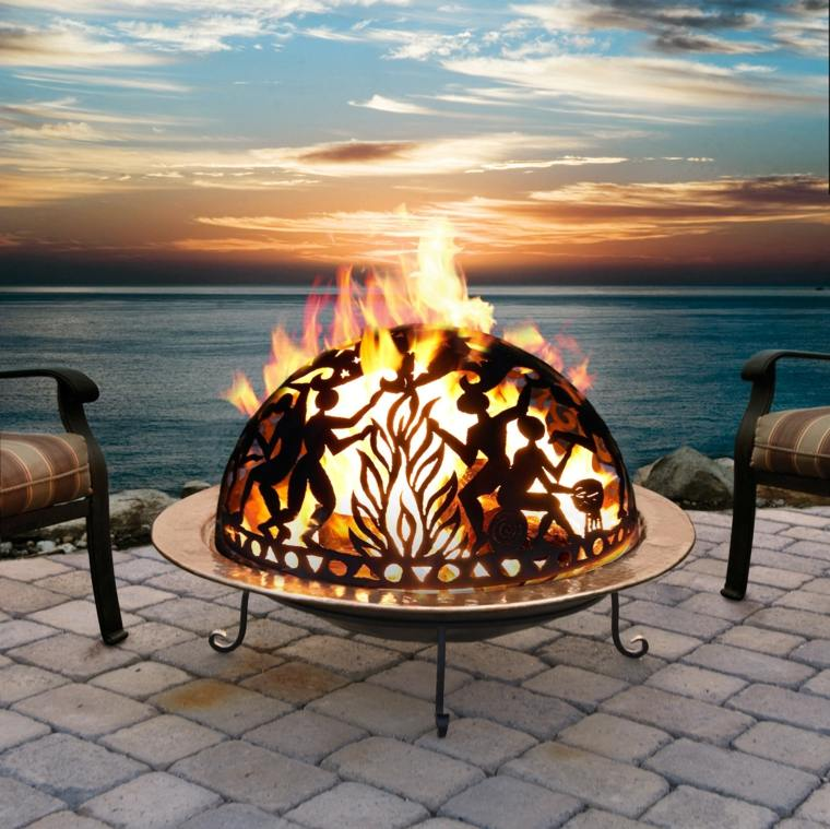 ideas iluminacion pozo fuego jardin acero ideas
