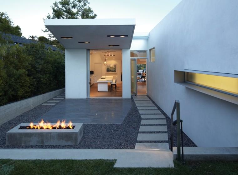 ideas iluminacion pozo fuego jardin diseno moderno minimalista