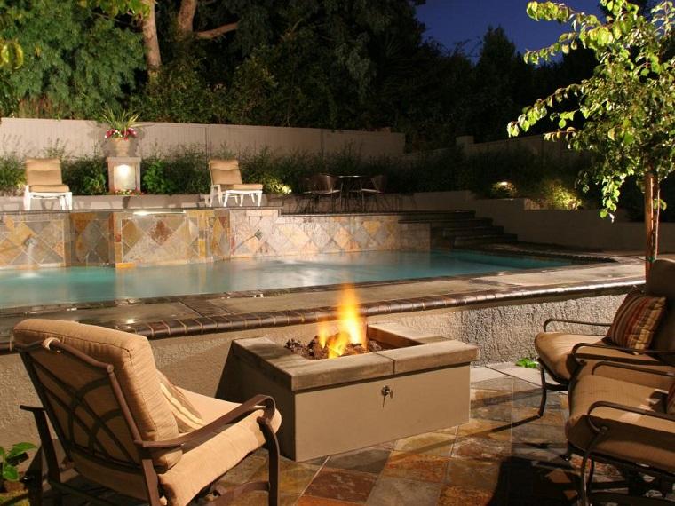 ideas iluminacion pozo fuego jardin niveles diseno