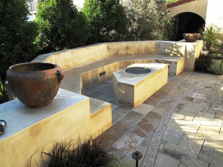 ideas iluminacion pozo fuego jardin piedras diseno