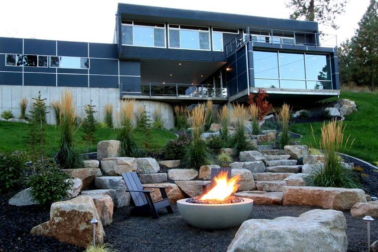 ideas iluminacion pozo fuego jardin residencia moderna diseno