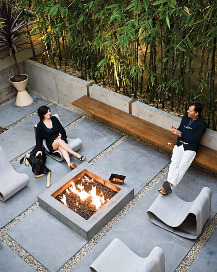 ideas iluminacion pozo fuego jardin sillones diseno moderno