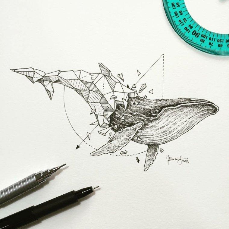 ideas para tatuajes ballena formas