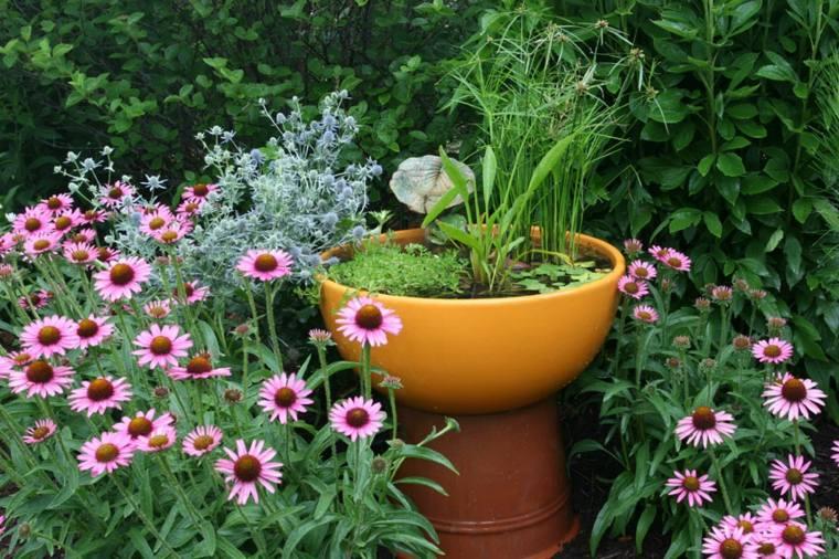 ideas fuente jardin diy plantas