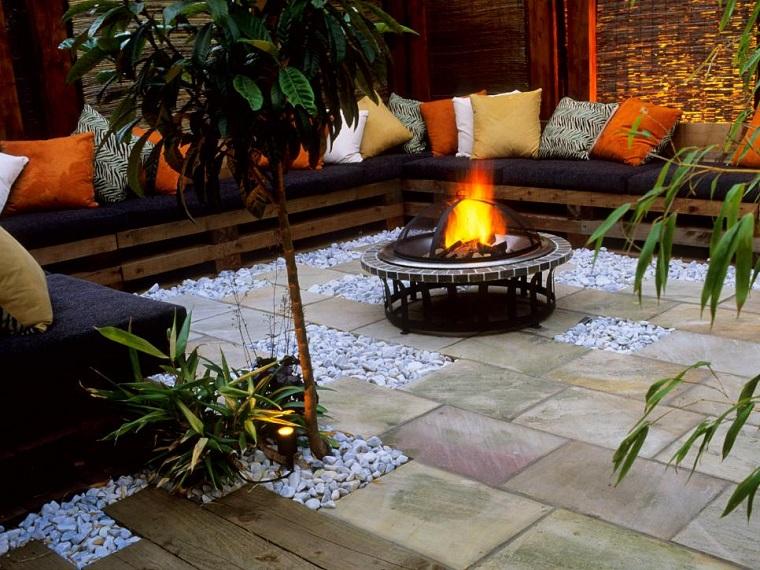 iluminacion pozo fuego jardin bancos madera diseno