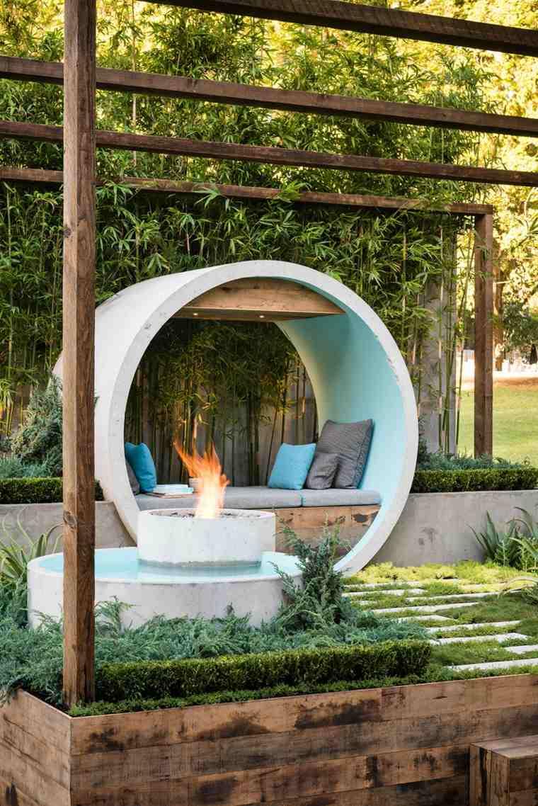 iluminacion pozo fuego jardin estanque ideas