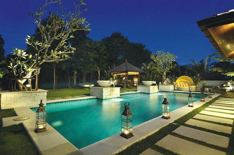 imagenes decoracion jardin diseno piscina iluminacion ideas