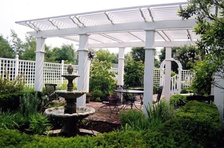 white wood pergola garden decoration ideas