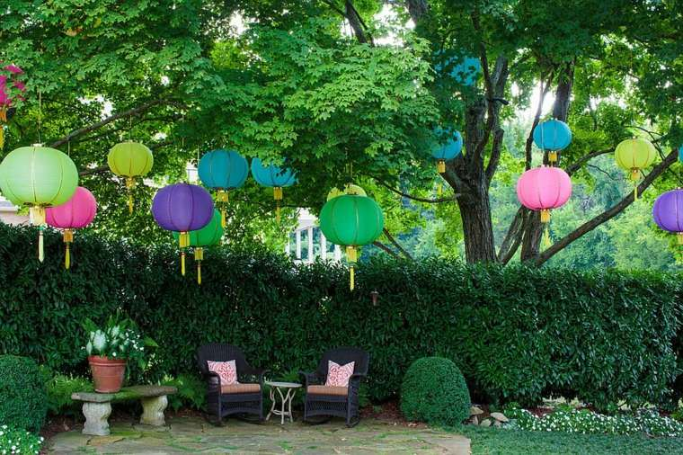 imagenes preciosas decoracion jardin lamparas papel colores ideas