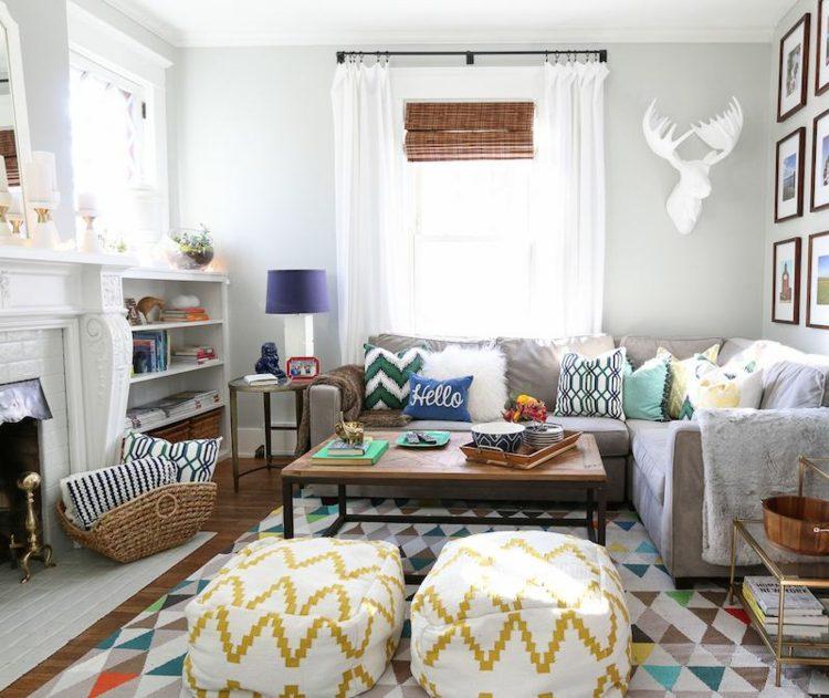 interiores mobiliario amarillo formas chimeneas