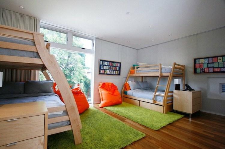 interiores mobiliario plantas literas verdes