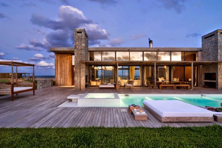 Paisajes hermosos en jardines con dise o moderno for Diseno jardin con piscina