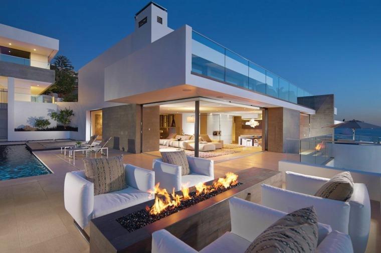 jardin diseno moderno mesa fuego muebles blancos ideas