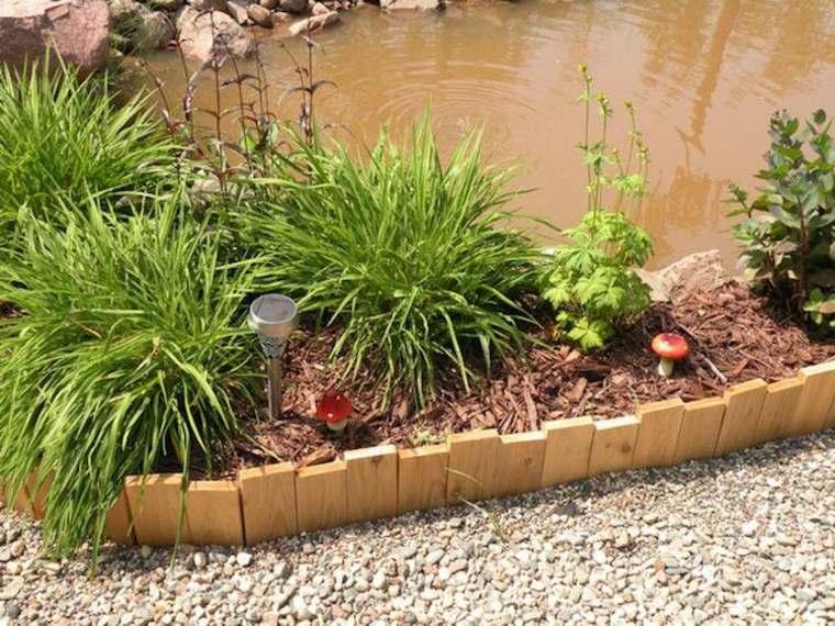 jardin estanque laminas madera frontera ideas