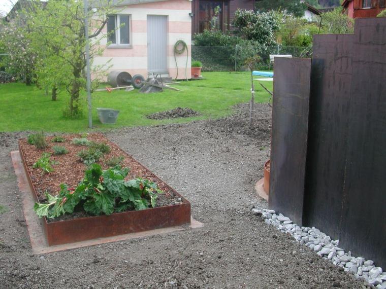 jardin moderno bordes acero corten