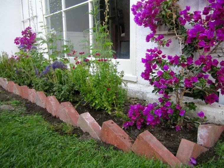 jardin moderno frontera ladrillos bonita ideas