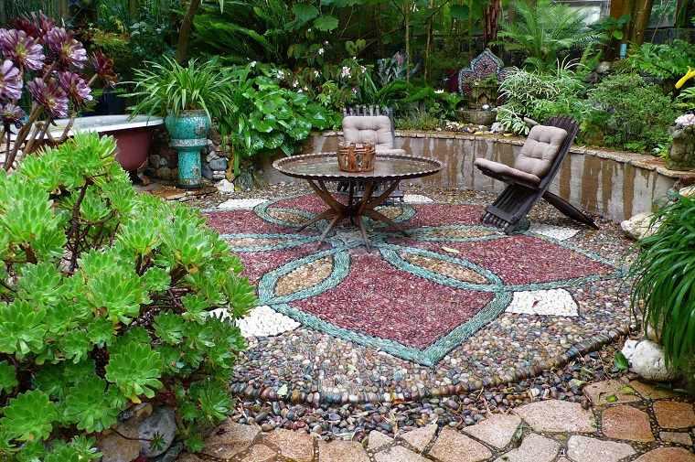 jardin suelo precioso colorido piedras distintos tipos ideas - Suelos Jardin