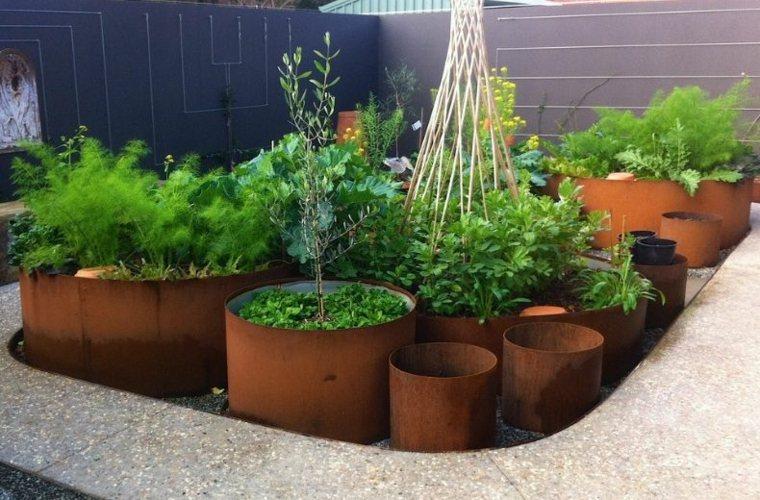 jardineras macetas opciones interesantes forma redonda acero corten ideas