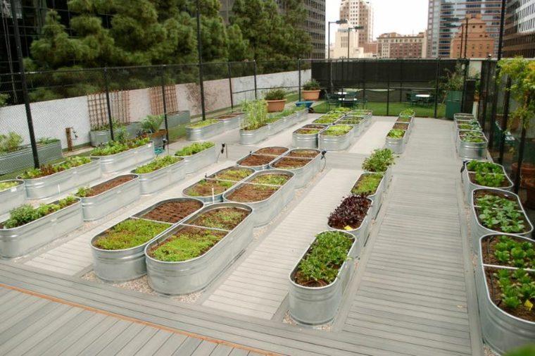 jardineras macetas opciones interesantes metalicas techo ideas