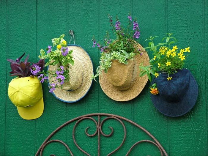 jardines decoracion flores sombreros pared metales