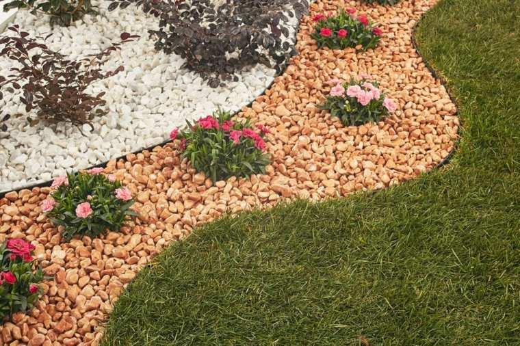 jardines modernos piedras formas flores