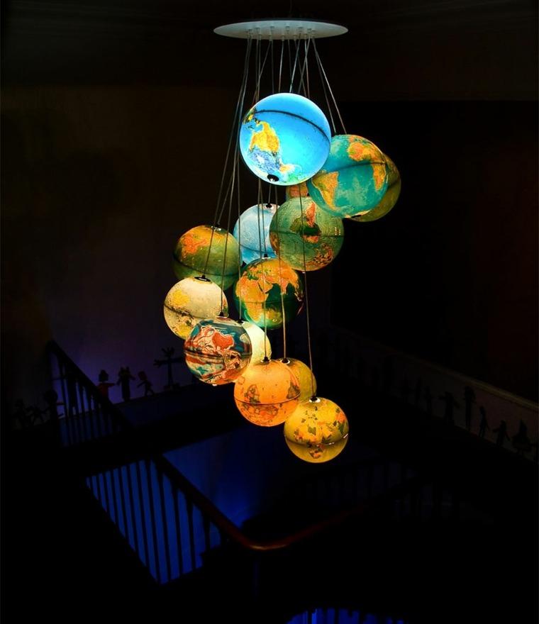 lamparas moderna hechas globos terraqueos ideas