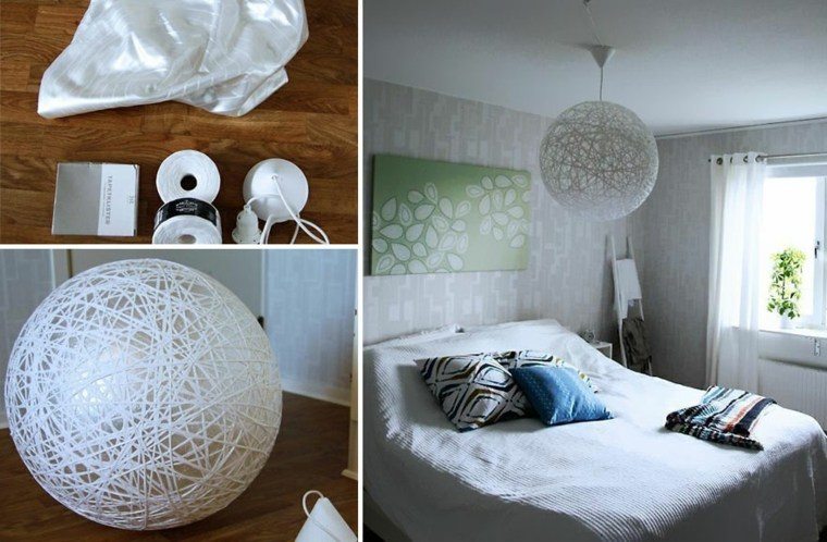 lamparas moderna hechas hilo blanco ideas