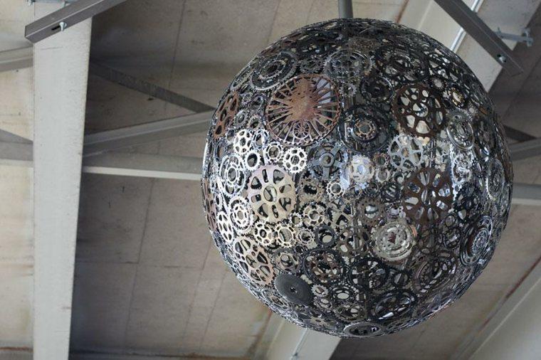 lamparas moderna hechas partes reloj ideas