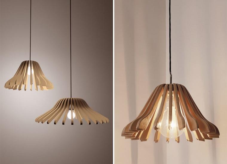 lamparas moderna hechas perchas madera ideas