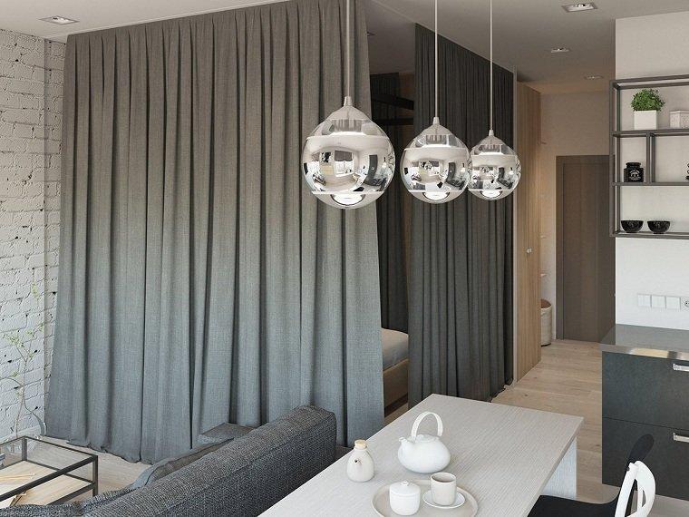 lamparas niqueladas cortinas efectps cortinas