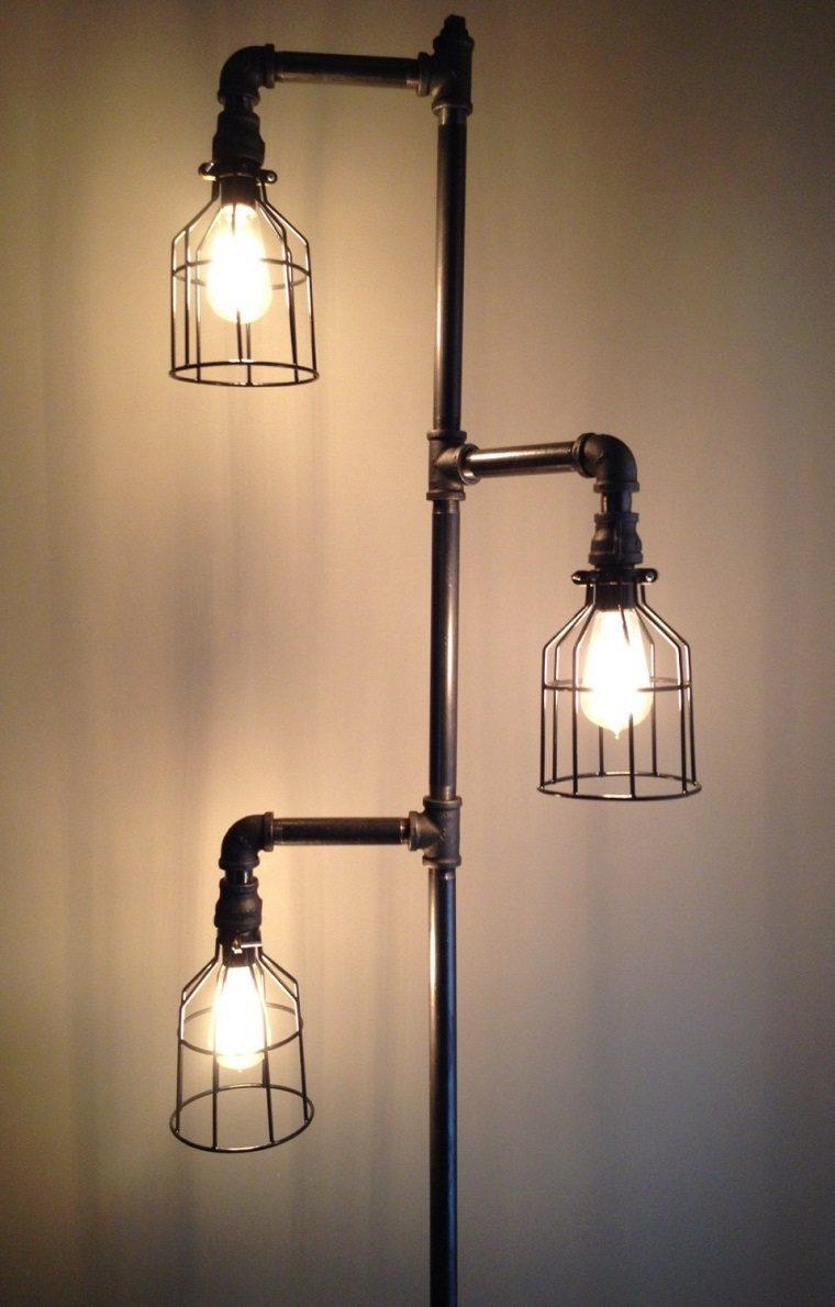 lamparas pie hechas tuberias viejas ideas