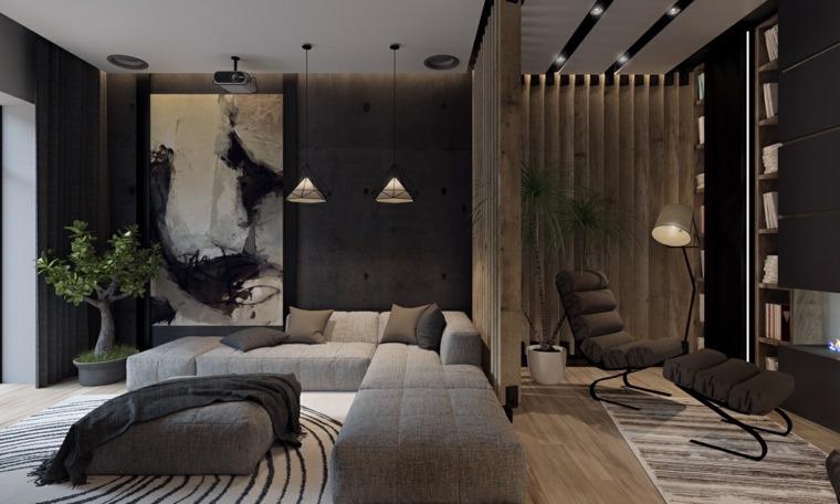 lineas salas lamparas calidos madera