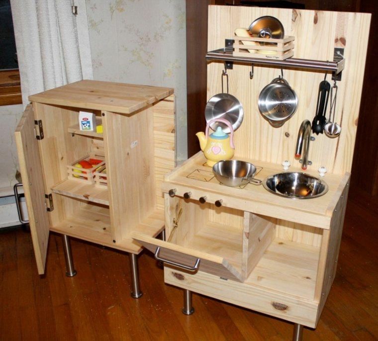 madera lijada natural cocina juegos ninos ideas