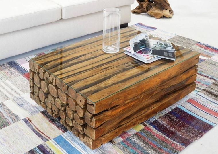 manualidades con madera opciones mesa salon encimera cristal ideas