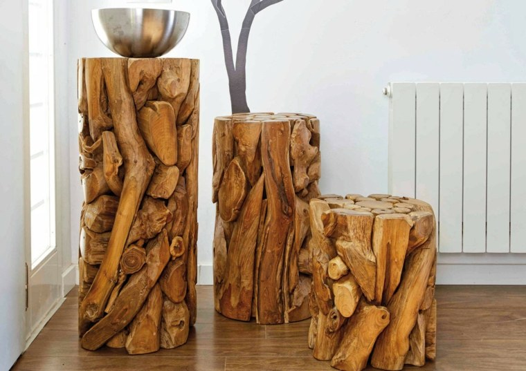 manualidades con madera opciones mesitas troncos pequenos madera ideas