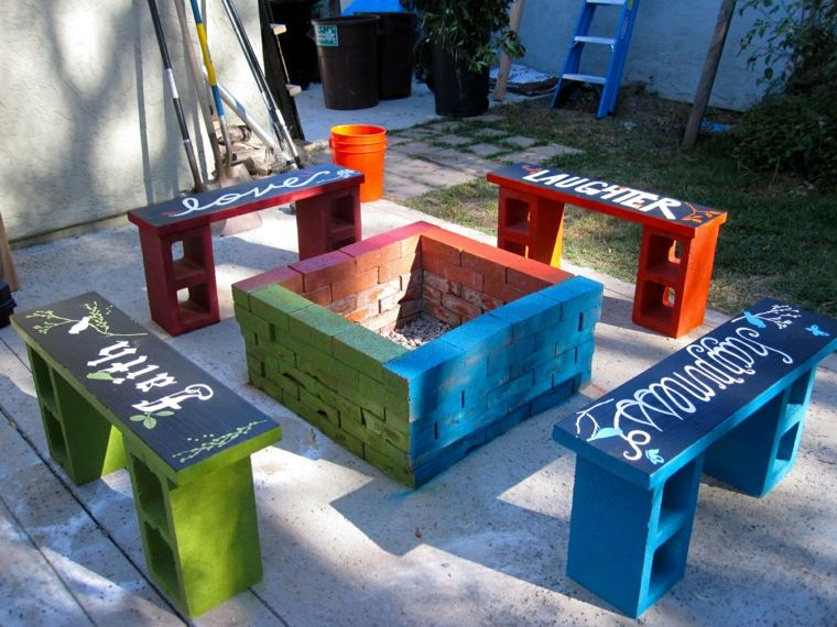 manualidades decorar jardin creativas lugar fuego bloques hormigon ideas