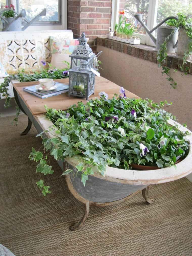 manualidades decorar jardin creativas mesa banera vieja ideas