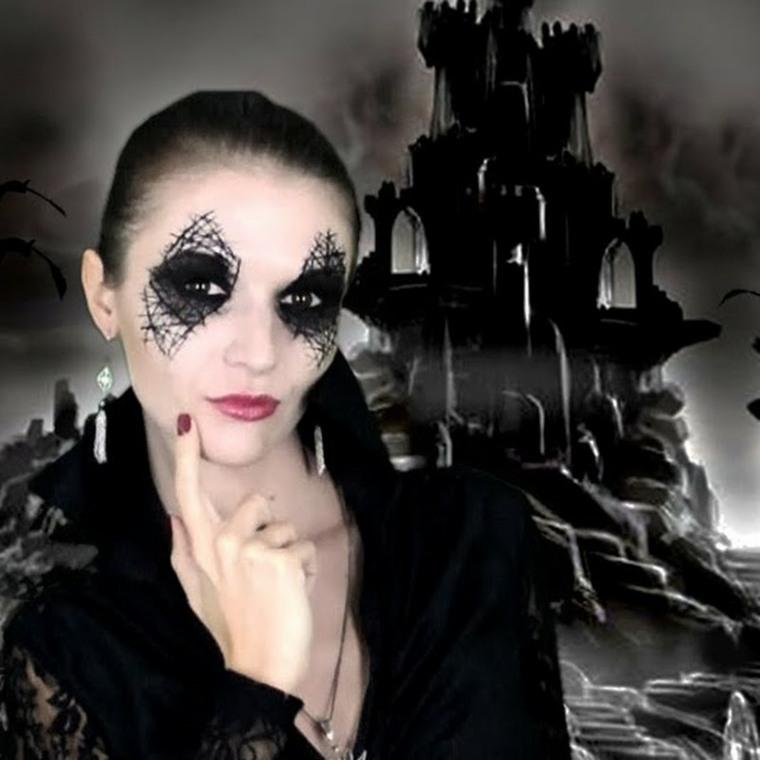 maquillaje de halloween telarañas