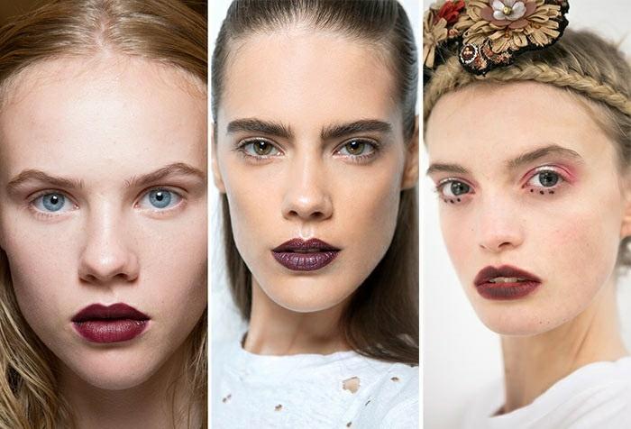 maquillaje natural moderno tendencia 2016 pintalabios oscuro ideas
