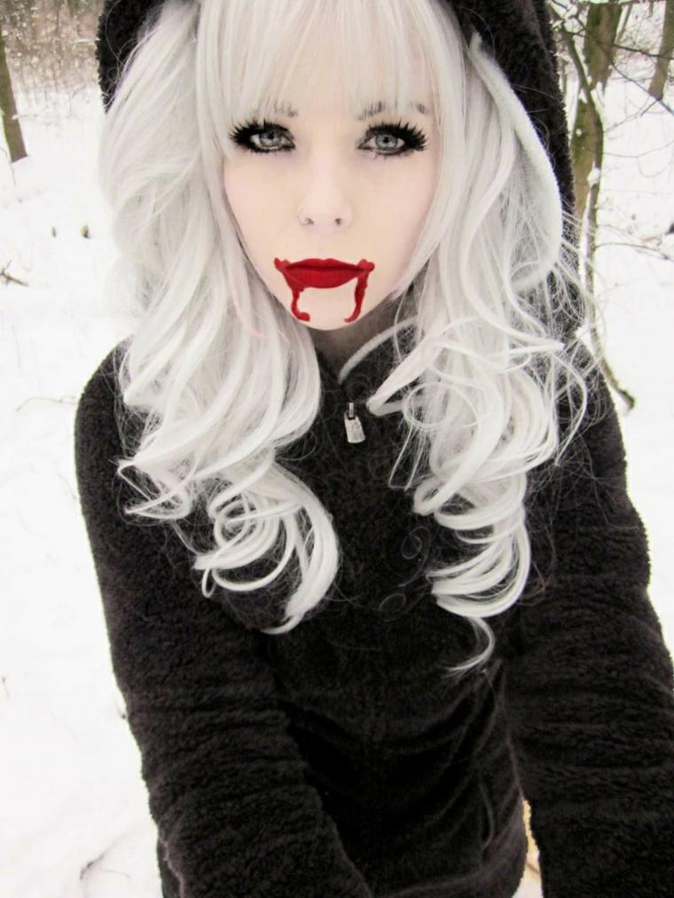 maquillaje para halloween labios rojos