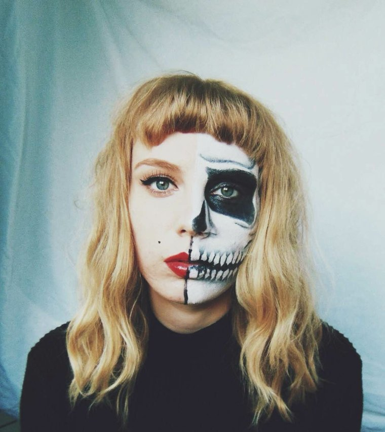 maquillaje para halloween mitad cara
