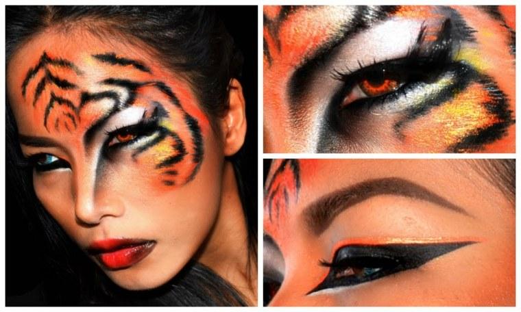 maquillaje para halloween piel tigre