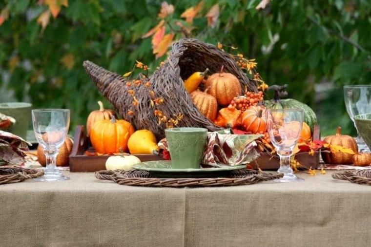 mesa jardin cena otoño