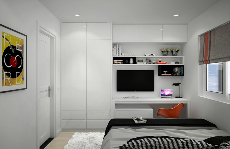 mesas de escritorio dormitorio adolescente enfrente cama ideas