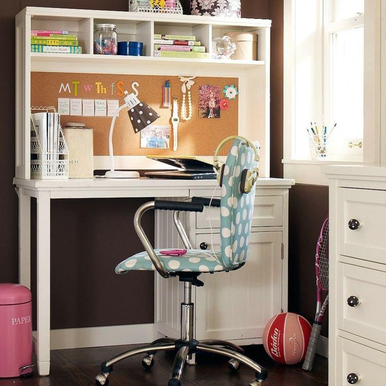 mesas de escritorio dormitorio adolescente madera blanca ideas