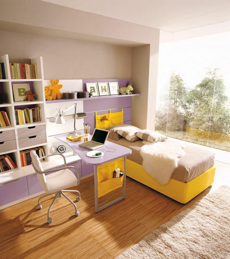 mesas de escritorio dormitorio adolescente moderno luminoso diseno ideas