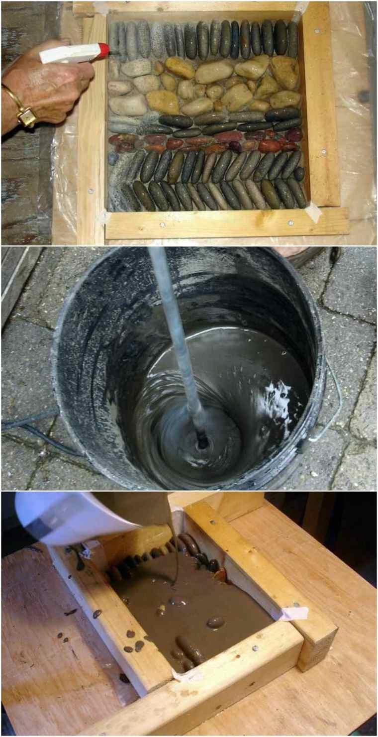 mezclar cemento pegar piedras río