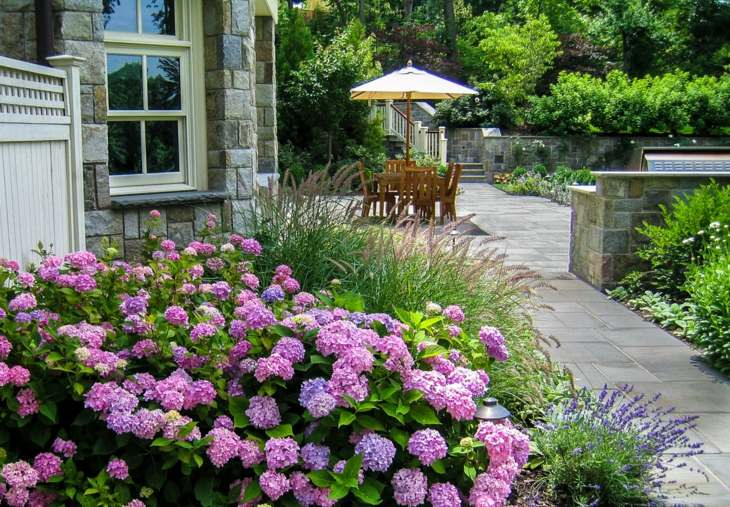 moderno patio funcional espacio rosa
